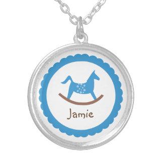 Rocking horse toy blue baby boy keepsake holiday round pendant necklace