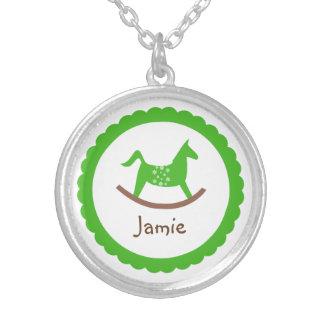 Rocking horse toy green baby keepsake holiday round pendant necklace