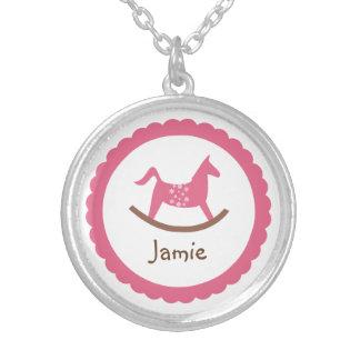 Rocking horse toy pink baby girl keepsake holiday round pendant necklace