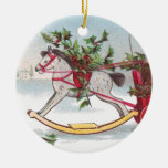 Rocking Horse Vintage Christmas Double-Sided Ceramic Round Christmas Ornament