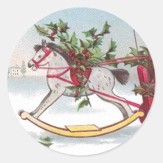 Rocking Horse Vintage Christmas Round Sticker