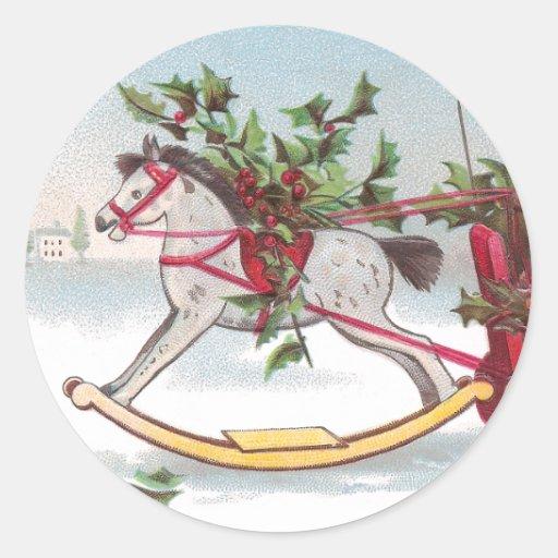 Rocking Horse Vintage Christmas Sticker