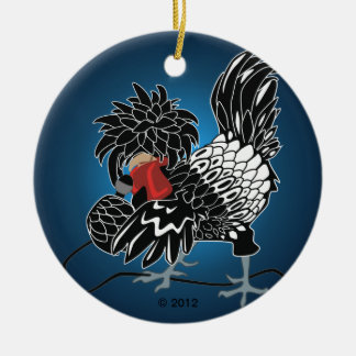 Rocking Polish Crested Chicken Christmas Ornament