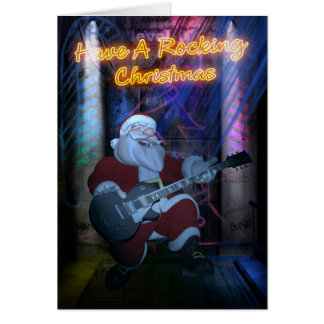Rocking Santa Christmas Card - Guitar