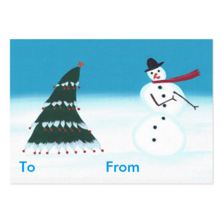 Rocking Snowman and Tree Christmas Gift Tags Pack Of Chubby Business Cards