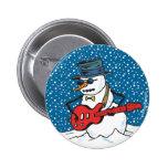 Rocking Snowman Pinback Button
