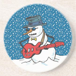 Rocking Snowman Playing A Guitar Coaster