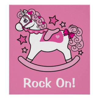 Rocking Unicorn with Pink Mane and Tail: Rock On! Poster
