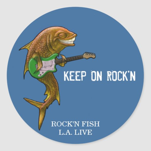 Rock 39 n fish l a live customised round sticker zazzle for Rock n fish
