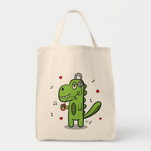 Rockosaur Dinosaur Grocery Tote Tote Bags