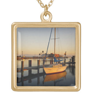 Rockport, Texas harbor at sunset Gold Plated Necklace