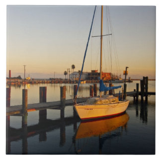 Rockport, Texas harbor at sunset Tile