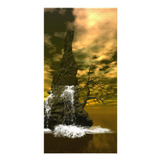 Rocks in the sea with waterfalls customized photo card