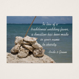 Rocks on Beach Wedding Charity Favor Card