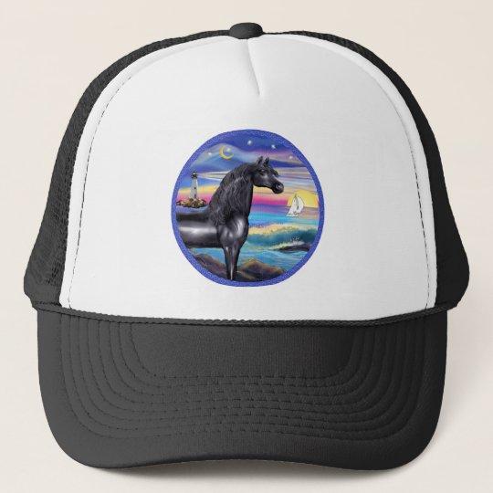 Rocks-Sea-Black Arabian Horse (round) Trucker Hat