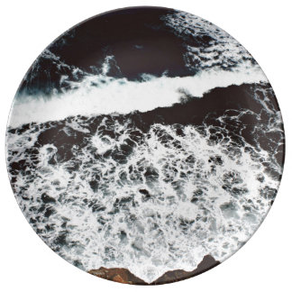 Rocks Themed, View From Top Of A Cliff To Foamy, F Porcelain Plate