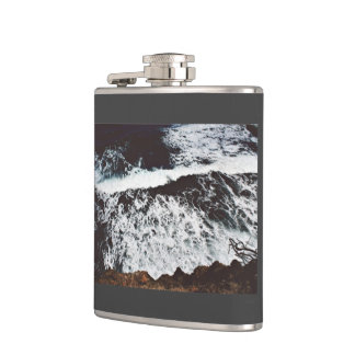 Rocks Themed, View From Top Of A Cliff To Foamy, F Hip Flask