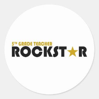Rockstar - 5th Grade Round Stickers