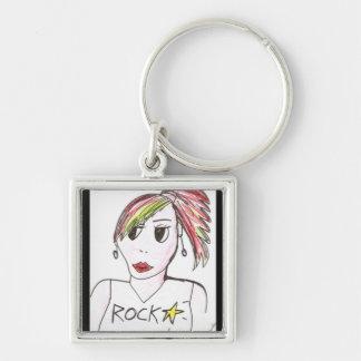 Rockstar girl Silver-Colored square key ring