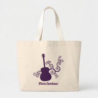 Rockstar Guitar Bag, Purple Large Tote Bag