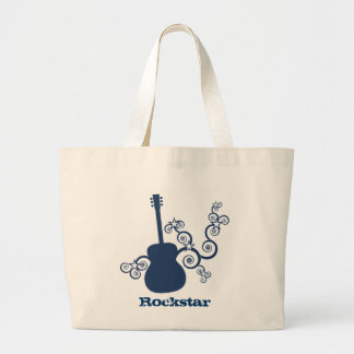 Rockstar Guitar Bag, Royal Blue Large Tote Bag