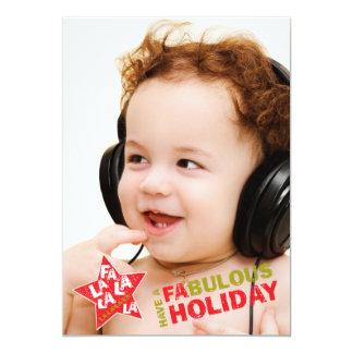 Rockstar Holiday Photo Card - Fa La La Singing 13 Cm X 18 Cm Invitation Card