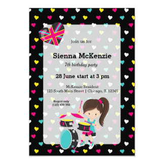 Rockstar party 13 cm x 18 cm invitation card
