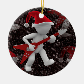 rockstar santa christmas ornament