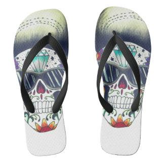 rockstar skull unisex flip flops