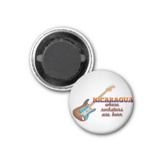Rockstars are born in Nicaragua 3 Cm Round Magnet