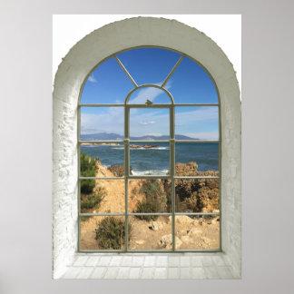 Rocky Beach Faux Window Poster