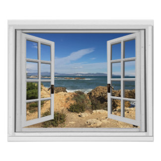 Rocky Beach Ocean View Fake Window Poster