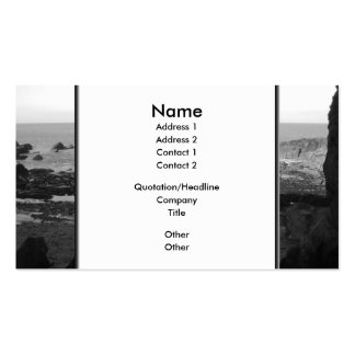 Rocky Beach. Scenic Coastal View. Black and White. Double-Sided Standard Business Cards (Pack Of 100)