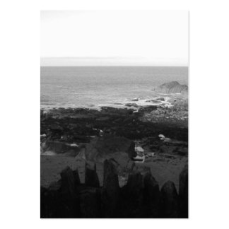 Rocky Beach. Scenic Coastal View. Black and White. Large Business Cards (Pack Of 100)
