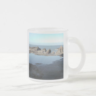 Rocky Beach. Scenic Coastal View. Frosted Glass Coffee Mug