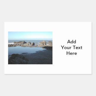 Rocky Beach. Scenic Coastal View. Rectangular Sticker
