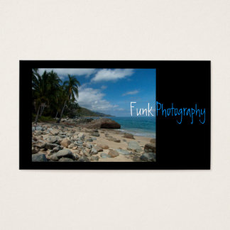 Rocky Beach with Palm Trees Business Card