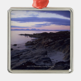 Rocky Coast at Sunset in Kintyre, Argyll, Scotland Silver-Colored Square Decoration