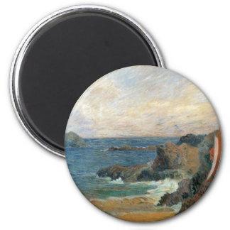 Rocky Coast by Paul Gauguin, Vintage Impressionism 6 Cm Round Magnet