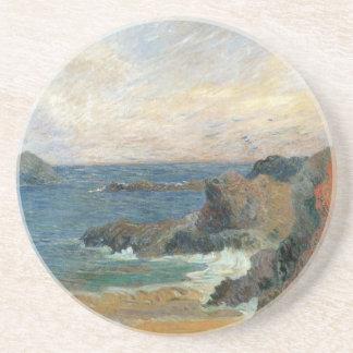 Rocky Coast by Paul Gauguin, Vintage Impressionism Sandstone Coaster