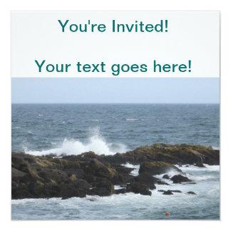 Rocky Coast in York Maine 5.25x5.25 Square Paper Invitation Card
