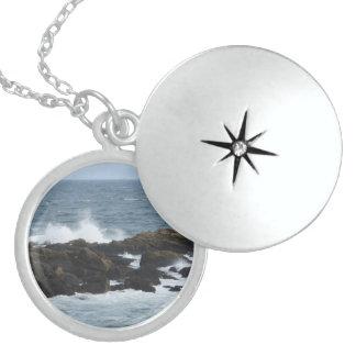 Rocky Coast in York Maine Round Locket Necklace