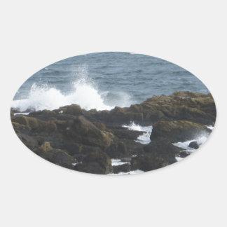 Rocky Coast in York Maine Oval Sticker