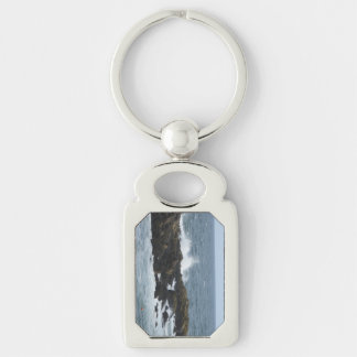 Rocky Coast in York Maine Silver-Colored Rectangle Key Ring