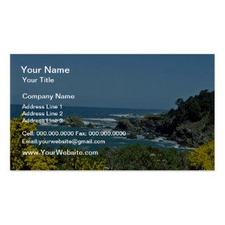 Rocky Coast Through Yellow Flowers flowers Business Card