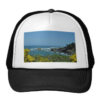 Rocky Coast Through Yellow Flowers flowers Trucker Hats