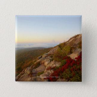 Rocky Hillside, Red Flowers, Acadia National Park 15 Cm Square Badge