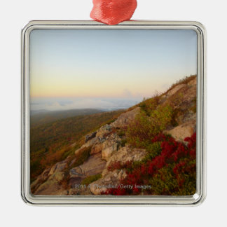 Rocky Hillside, Red Flowers, Acadia National Park Silver-Colored Square Decoration