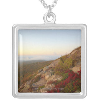 Rocky Hillside, Red Flowers, Acadia National Park Silver Plated Necklace