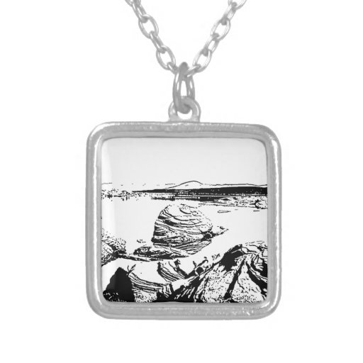 Rocky Lake in Pen and Ink Necklace